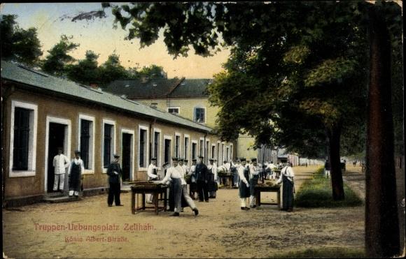 Ak Zeithain in Sachsen, Truppenübungsplatz, König Albert Straße