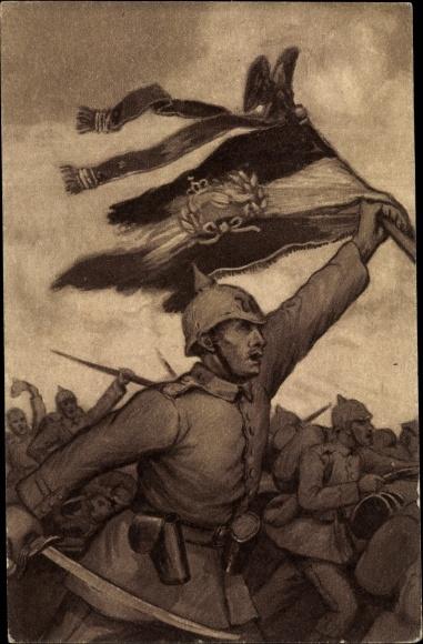 Künstler Ak Hamburger Opfertag, 01. November 1915, Weihnachtsgabe, Schlachtszene