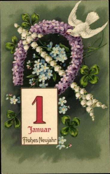 Präge Litho Glückwunsch Neujahr, Kalenderblatt 1 Januar, Taube, Hufeisen, Kleeblätter
