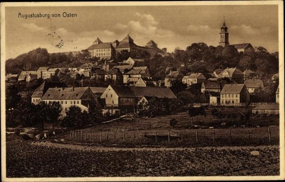 Ak Augustusburg im Erzgebirge, Panorama vom Ort von Osten