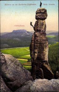 Ak Pfaffendorf Königstein an der Elbe Sächsische Schweiz, Barbarine, Gohrischstein, Felsenkletterer