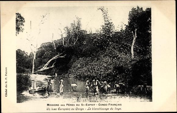 Ak Französisch Kongo, Missions des Pères du St. Esprit, Le blanchissage du linge