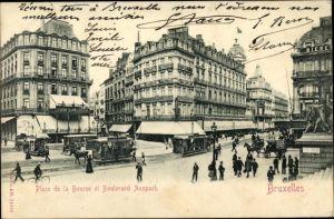 Ak Bruxelles Brüssel, Place de la Bourse et Boulevard Anspach