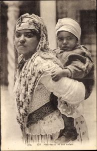 Ak Maghreb, Mauresque et son enfant