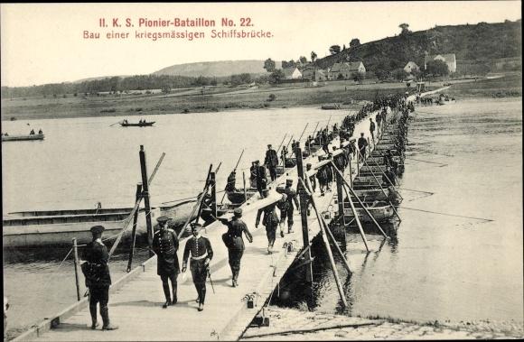 Ak II. K. S. Pionier Bataillon No. 22, Bau einer kriegsmässigen Schiffbrücke