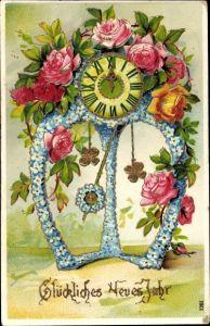 Präge Ak Glückwunsch Neujahr, Uhr aus Blumen, Vergissmeinnicht, Rosen