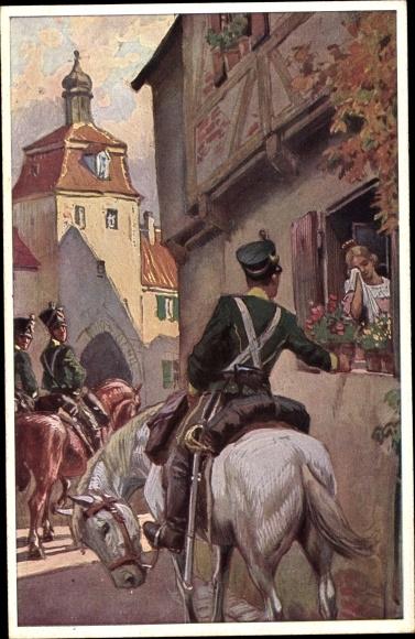 Künstler Ak Hey, Paul, Es ritten drei Reiter zum Tore hinaus, Volksliederkarte Nr. 27, Novitas 20739