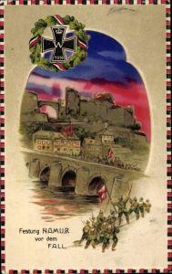 Halt gegen das Licht Relief Litho Namur Wallonien, Festung vor dem Fall, deutsche Truppen, I. WK
