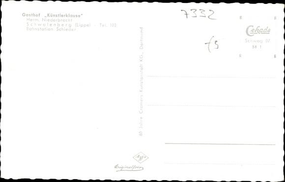Ak Schieder Schwalenberg Nordrhein Westfalen, Gasthof Künstlerhaus 1