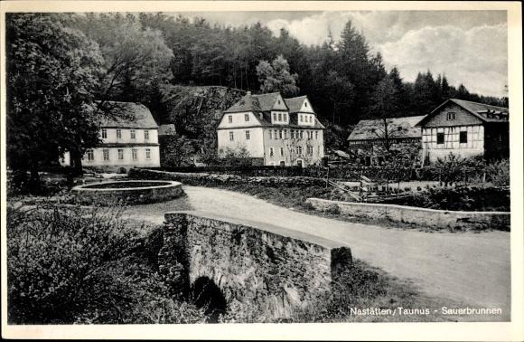 Ak Nastätten im Rhein Lahn Kreis, Sauerbrunnen, Brücke, Straßenpartie 0