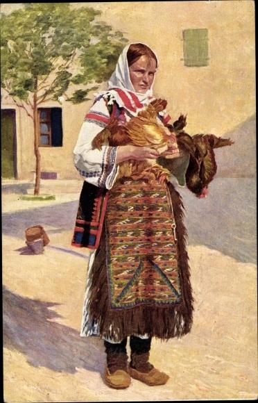 Künstler Ak Kleinmond, L., Kroatien, Frau in Volkstracht, Hühner