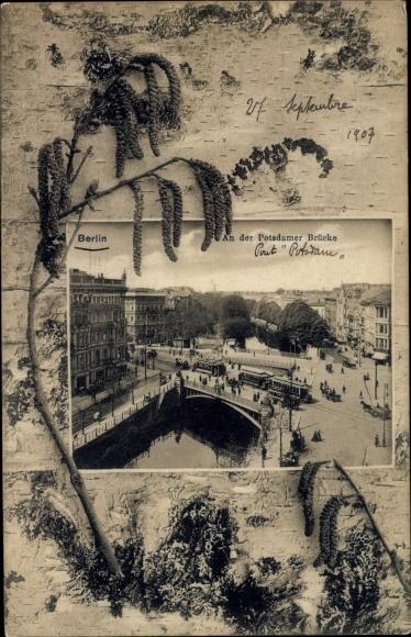 Passepartout Ak Berlin Tiergarten, Potsdamer Brücke, Straßenbahn, Weidenkätzchen 0