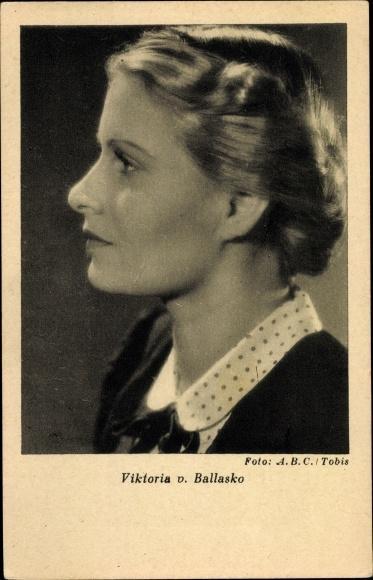 Ak Schauspielerin Viktoria von Ballasko, Portrait, Profilansicht