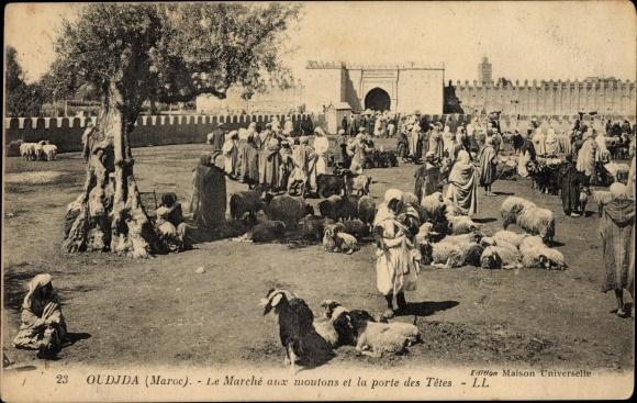 Ak Oudjda Oujda Marokko, Le Marché aux moutons et la porte des Têtes 0