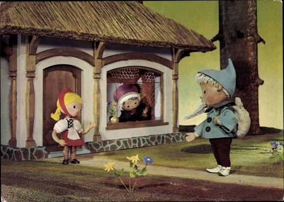 Ak Unser Sandmännchen, Sandmann, DDR Kinderfernsehen, Rotkäppchen, 6222
