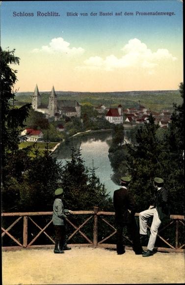 Ak Rochlitz an der Mulde, Blick von der Bastei auf dem Promenadenwege