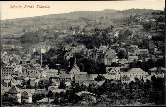 Ak Sebnitz in Sachsen, Panorama vom Ort