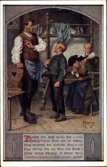 Künstler Ak Kuderna, Franz, Deutsch sein heißt wahr sein, Dt. Schulverein Nr. 802