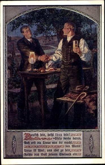 Künstler Ak Kuderna, Franz, Deutsch sein heißt treu sein, Dt. Schulverein Nr. 806 0