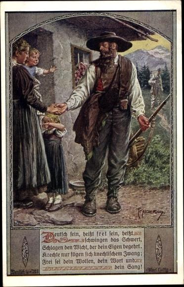 Künstler Ak Kuderna, Franz, Deutsch sein heißt frei sein, Dt. Schulverein Nr. 801