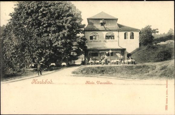 Ak Karlovy Vary Karlsbad Stadt, Klein Versailles, Cafe, Restauration 0