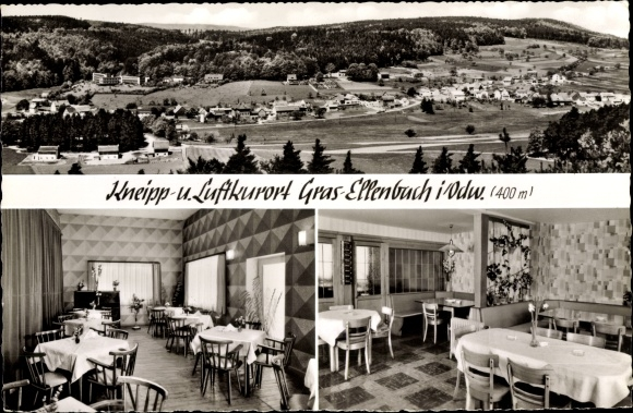 Ak Gras Ellenbach im Odenwald, Gasthaus Zum Spessartskopf, Innenansicht, Panorama vom Ort 0