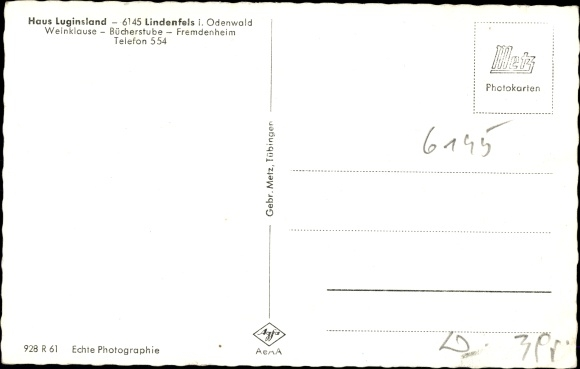 Ak Lindenfels im Odenwald Hessen, Haus Luginsland 1