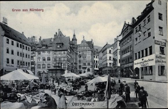 Ak Nürnberg in Mittelfranken Bayern, Obstmarkt, Häuserfassade, Maektgänger 0