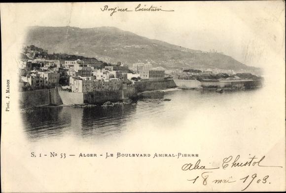 Ak Algier Alger Algerien, Le Boulevard Amiral Pierre 0