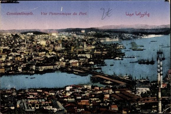 Ak Konstantinopel Istanbul Türkei, Vue Panoramique du Port 0