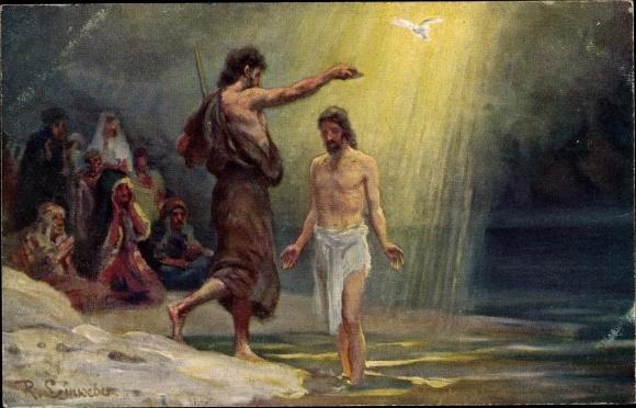 Künstler Ak Leinweber, R., Die Heilige Schrift, Serie VI, Bild 11, Jesu Taufe 0