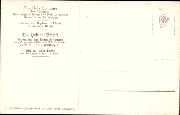 Künstler Ak Leinweber, R., Die Heilige Schrift, Serie VI, Bild 11, Jesu Taufe 1
