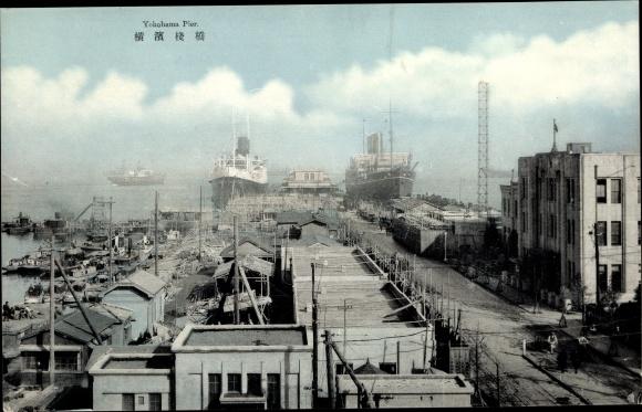 Ak Yokohama Präf. Kanagawa Japan, Pier, Hafenpartie 0