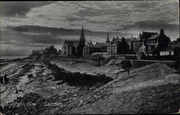 Ak Saltcoats North Ayrshire Schottland, Twilight Glow, Totalansicht 0