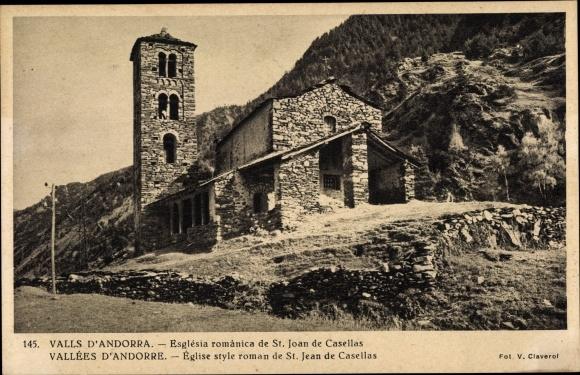 Ak Andorra la Vella Andorra, Église style roman de St. Jean de Casellas