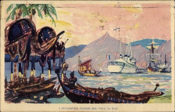 Künstler Ak Polynesien, Le sloop Régulus 0