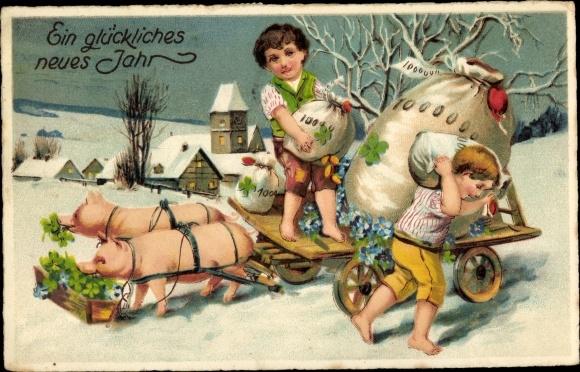 Ak Glückwunsch Neujahr, Schweine, Geldsäcke, Klee 0