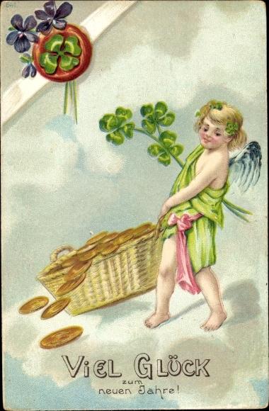 Präge Ak Glückwunsch Neujahr, Kleeblätter, Goldmünzen, Engel