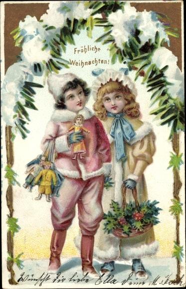 Ak Frohe Weihnachten, Kinder, Puppen