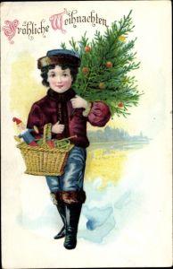 Ak Frohe Weihnachten, Weihnachtsbaum, Kind, Geschenke
