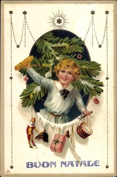 Ak Buon Natale, Frohe Weihnachten, Kind, Spielzeuge, Tannenbaum 0