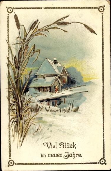 Ak Glückwunsch Neujahr, Winterszene, Schilf 0