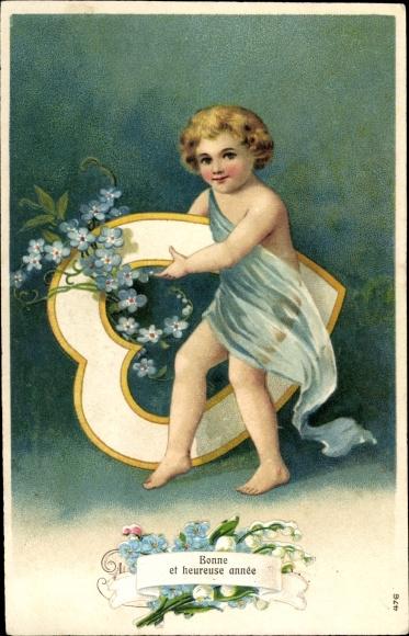 Präge Ak Bonne Année, Glückwunsch Neujahr, Kind, Herz, Blumen 0