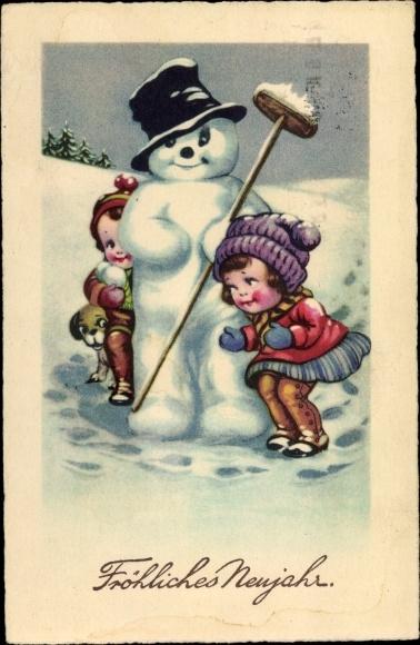 Ak Glückwunsch Neujahr, Schneemann, Kinder 0