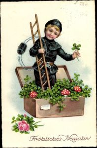 Ak Glückwunsch Neujahr, Schornsteinfeger, Kleeblätter, Fliegenpilze