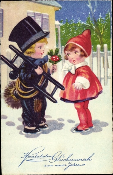 Ak Glückwunsch Neujahr, Schornsteinfeger, Fliegenpilz 0