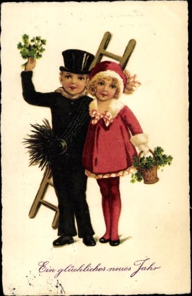 Ak Glückwunsch Neujahr, Schornsteinfeger, Kleeblätter 0