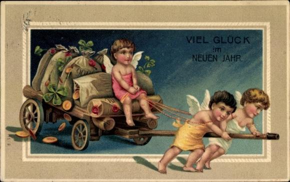 Präge Ak Glückwunsch Neujahr, Engel, Geldsäcke, Kleeblätter