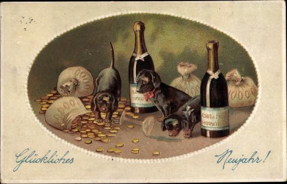 Präge Ak Glückwunsch Neujahr, Sektflaschen, Geldsäcke, Dackel 0