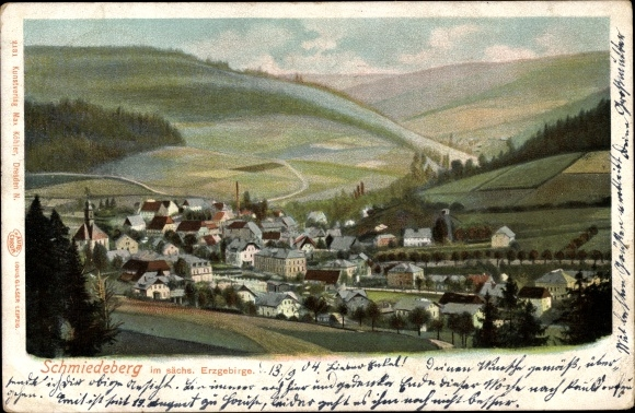 Ak Schmiedeberg Dippoldiswalde im Osterzgebirge, Panorama vom Ort 0